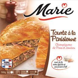 Tourte à la Parisienne champignons de Paris et jambon