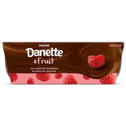 Danette - Crème dessert chocolat sur coulis de framb...