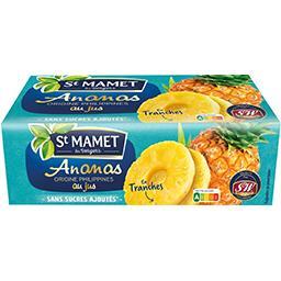St Mamet Ananas en tranches la boite de 135 g net égoutté