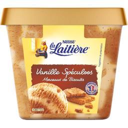 Crème glacée vanille spéculoos morceaux de biscuits