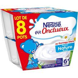 P'tit Onctueux - Dessert lacté au fromage blanc saveur nature sucré 6+ mois