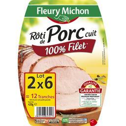 Fleury Michon Rôti de porc cuit 100% filet le lot de 2 barquettes de 6 tranches - 420 g