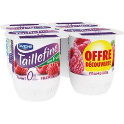 Taillefine Yaourt brassé aux fruits 0% framboise les 4 pots de 125 g