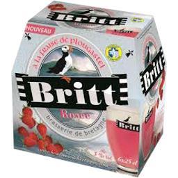 Bière rosée à la fraise Britt 3°, 6x25cl