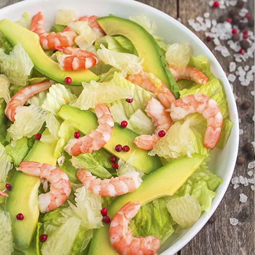 Salade de pamplemousse, avocat et crevettes