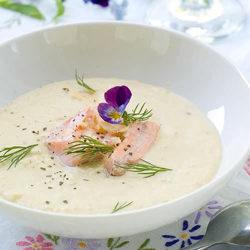 Soupe de poireaux et saumon