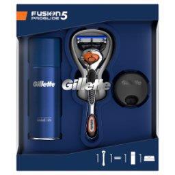 Zestaw podarunkowy zmaszynką do golenia Fusion5 ProGlide + żel do golenia + stojak