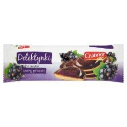 Delektynki Biszkopty z galaretką o smaku czarnej porzeczki w czekoladzie