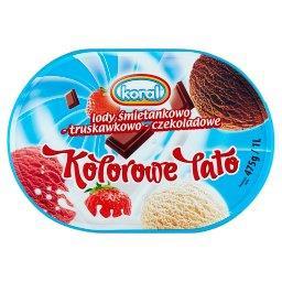 Kolorowe Lato Lody śmietankowo-truskawkowo-czekoladowe 1 l
