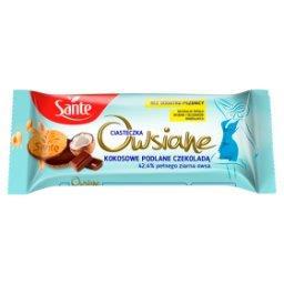 Ciasteczka owsiane kokosowe podlane czekoladą
