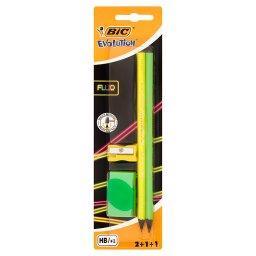 Evolution Fluo Zestaw 2 ołówków 1 gumka i 1 temperówka