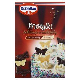 Motylki Dekoracje z czekolady mlecznej i białej  (12 sztuk)