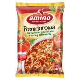 Zupa błyskawiczna pomidorowa z kawałkami pomidorów i natką pietruszki