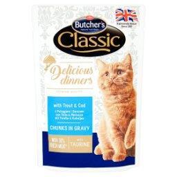 Classic Delicious Dinners Karma dla kotów kawałki w sosie z pstrągiem i dorszem