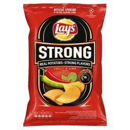Strong Chipsy ziemniaczane karbowane o smaku ostrego chilli i limonki