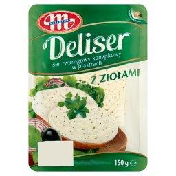 Deliser Ser twarogowy kanapkowy w plastrach z ziołami