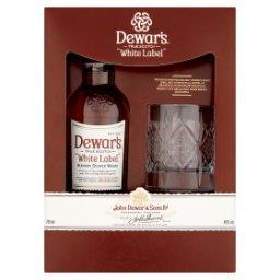 White Label Szkocka whisky typu blend  i szklanka