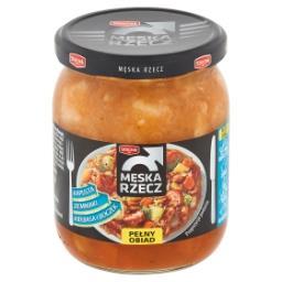 Męska Rzecz Ziemniaki z kapustą kiełbasą i boczkiem w sosie pomidorowym