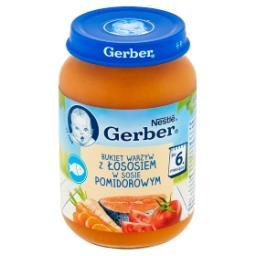 Bukiet warzyw z łososiem w sosie pomidorowym po 6 mi...