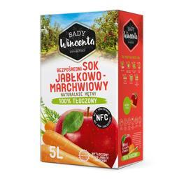 Sok jabłkowo-marchwiowy, naturalnie mętny, tłoczony na zimno 100% 5l