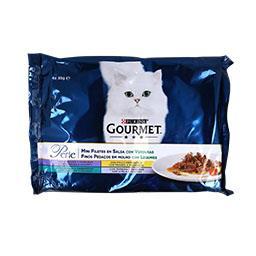 Comida húmida para gato finos pedaços com legumes