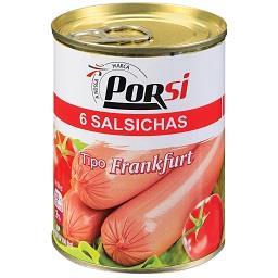 Salsichas de porco em lata