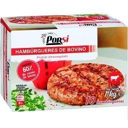 10 hamburguers 60% carne de bovino