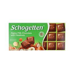 Tablete de chocolate, leite com avelãs