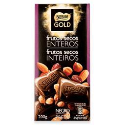 Tablete de chocolate preto com frutos secos