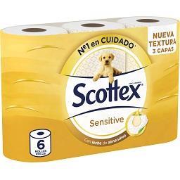 Papel higiénico, acolchoado sensitive, 3 folhas, 6 r...