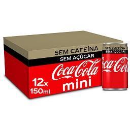 Refrigerante com gás cola zero sem cafeína, mini lat...