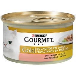 Comida húmida para gato pedacinhos em molho com salm...